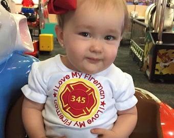 Girls I Love My Fireman Bodysuit or Shirt - Firefighter - Fire Badge