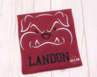 Boys Bulldog Mascot Shirt - Bulldog Football - Bulldog Shirt - Monogram Bulldog