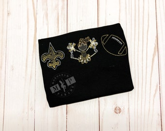 Girls Black and Gold Football Build Your Own Football Trio Sketch Embroidery, Football Shirt, Black and Gold Football - who dat