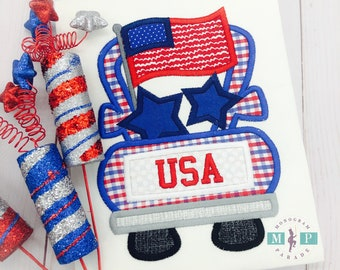 Boys 4th of july Shirt or Bodysuit - 4th of July - Fourth of July - Patriotic Truck - Stars and stripes - monogram truck