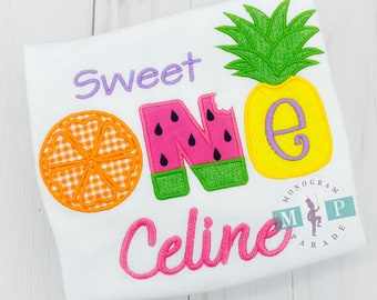 Sweet One - Fruit First Birthday - Tropical First Birthday Two-tti  Frutti-  Personalized - Fruit