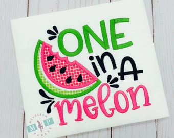 One in a Melon - Watermelon Shirt or bodysuit - watermelon festival - watermelon birthday