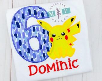 Boys pokemon Birthday Shirt - pikachu - Boys Birthday Shirt - electric - yellow pokemon