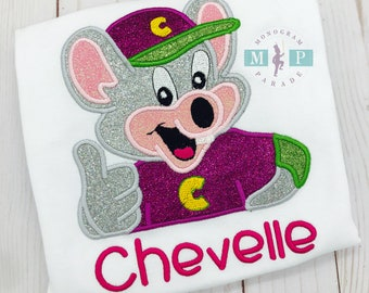 Chuck E Cheese Birthday Shirt - Girls Birthday Shirt - Monogrammed Birthday Shirt - Chuck E Cheese