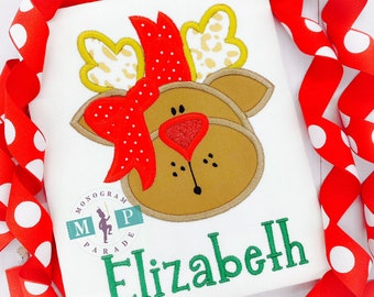 Reindeer Shirt or bodysuit - Girls Rudolph - Christmas Shirt - Christmas ornament - Christmas Lights - Reindeer Lights