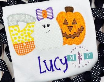 Girls Halloween Shirt - Boo - Trick or Treat - pumpkin - 1st halloween - candy corn - ghost