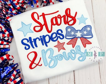 Stars, Stripes and Bows -  4th of July - 1st 4th of July - Fourth of July - Sketch Embroidery - Patriotic