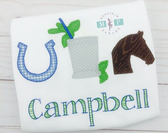 Girls Kentucky Derby - Horses - Racing - Mint Julep - horse shoe - blanket stitch - vintage stitch