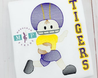 Boys football player - football - football shirt  - Tigers - purple and gold football player - Sketch Football Player