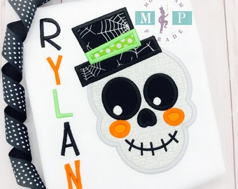 Boys skeleton shirt - halloween shirt - skeleton appliqué - 1st halloween - skull