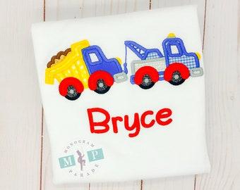 Boys truck shirt - tow truck - dump truck - monogrammed truck - touch a truck