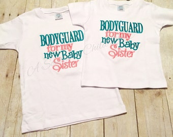 Bodyguard for my new baby sister short sleeve t-shirt - customize with your own colors - big brother shirt - baby sister - boys shirt