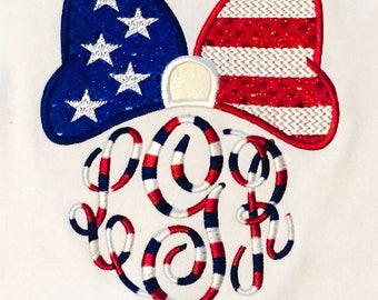 Girls Monogram 4th of July Shirt or Bodysuit - 1st fourth of july - Monogram Bow Shirt or Bodysuit