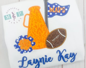 Blue and Orange - Cheerleader Megaphone Football Shirt or Bodysuit - Customize to your favorite team - Gameday shirt - girls football shirt