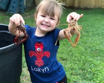 Girl's Crawfish Flutter T-shirt or Infant bodysuit - Crawfish Shirt - Monogram Crawfish - Crawfish Boil - Glitter Crawfish