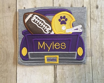 Tigers Football Truck Shirt or Bodysuit - Boys Truck Shirt - Football Shirt - SEC Football - Tiger Shirt - Football Truck/Purple & Gold
