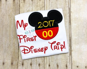 My First Disney Trip Ruffle Shirt or Bodysuit - mr mouse shirt -monogram disney trip