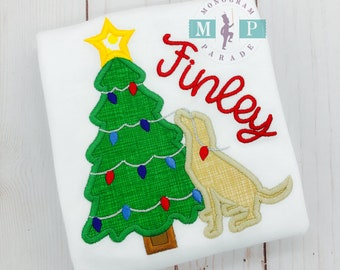 Girls Christmas Shirt - Christmas Puppy Dog - Christmas shirt - christmas dog - labrador - christmas tree