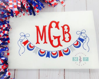 Girls 4th of July - Patriotic Monogram - Bunting - Red White & Blue - fourth of july