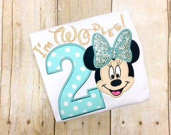 Miss Mouse Second Birthday Shirt - Twodles - Oh Toodles - Miss Mouse 2nd Birthday - Teal and Gold