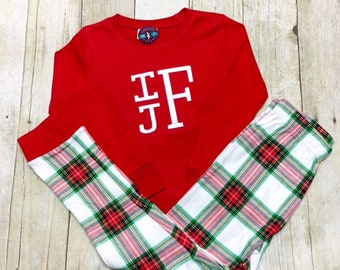 Adult Pajama Set- Pant choice with Red Long Sleeve Tee - Monogrammed