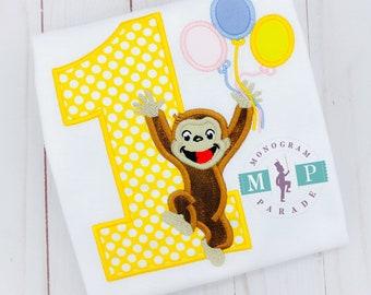 Girls Monkey Birthday Shirt - Monkey Birthday - Zoo Birthday - Animal Birthday - George Monkey
