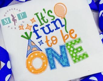 Boys Birthday Shirt- One-derful Birthday - Fun to be one - Boys birthday - Birthday Hat - Balloon
