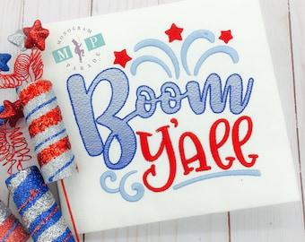 Boom Ya'll - July 4th - Fireworks - boys 4th of july shirt - fourth of july - patriotic monogram