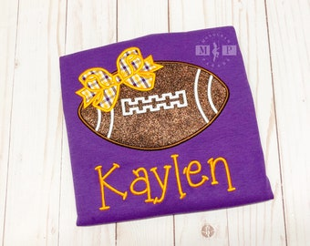 Purple and gold Glitter Football with Bow Game Day Shirt or infant bodysuit - Baby girl gameday shirt - Custom monogram shirt or bodysuit