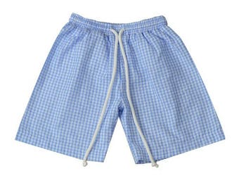 Boys Swim Trunks - Seersucker Swim - Boys Swim Suit - Monogram Boys Bathing Suit