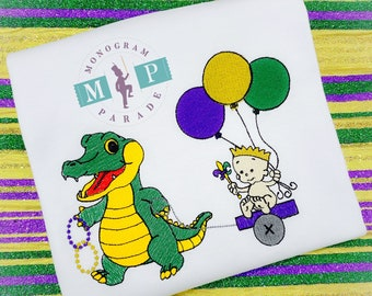 Boys Mardi Gras shirt - Alligator - Personalized- Fat Tuesday - Mardi Gras - 1st Mardi Gras - King Cake Baby - Mardi Gras King