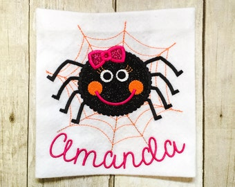Girls Spider shirt or bodysuit - Girls halloween shirt - girly spider - first halloween