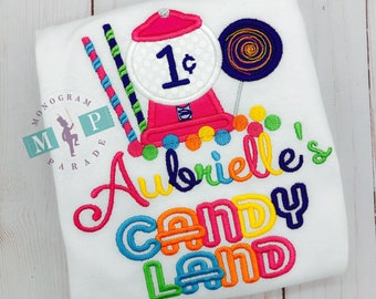 Girls Candyland Birthday Shirt or bodysuit - Candy birthday - candy land - gumball machine - lollipop