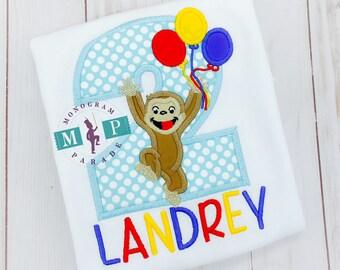 Boys Birthday Shirt - George birthday shirt - 2nd birthday shirt - monkey birthday shirt