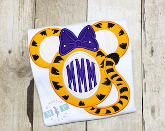 Girls Miss Mouse Tiger Shirt or bodysuit - tiger football - monogram tiger mouse