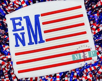 American Flag Shirt - July 4th -Memorial Day - Boys 4th of July Shirt - Monogram Flag - American Flag