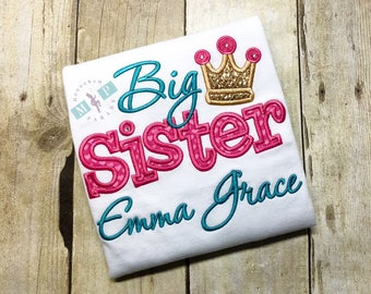 Big Sister Monogram Shirt - Princess Big Sister - Crown Big Sister