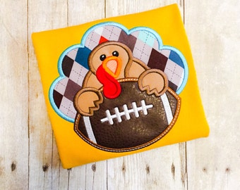 Boys Turkey Football Shirt - Boys Thanksgiving Shirt - Football Shirt - Turkey Shirt - Monogrammed Turkey - First Thanksgiving