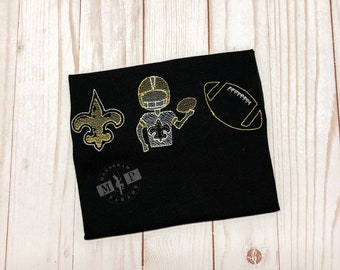 Boys Black and Gold Football Build Your Own Football Trio Sketch Embroidery, Football Shirt, Black and Gold Football - who dat