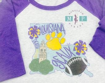 Louisiana Football Unisex Raglan - Geaux - Tigers - Louisiana State