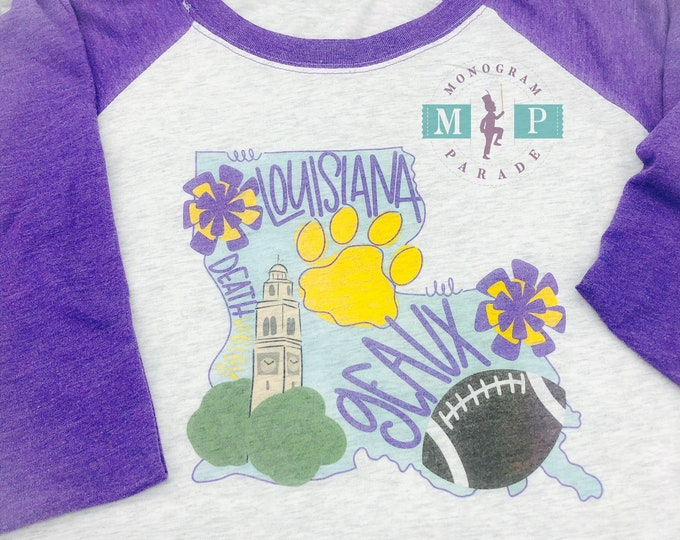 Featured listing image: Louisiana Football Unisex Raglan - Geaux - Tigers - Louisiana State