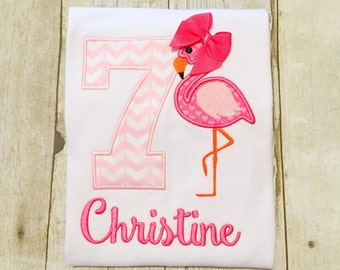 Flamingo Birthday Shirt or bodysuit - any year available - flamingo birthday - zoo birthday - pink flamingo