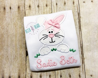 Girls Easter Bunny Shirt - Easter Bunny - Monogrammed Easter Shirt - Girls Bunny Shirt - Easter Bunny