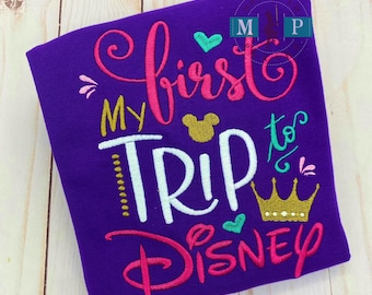 My First Disney Trip Ruffle Shirt or Bodysuit - miss mouse shirt -monogram disney trip - Magic Castle