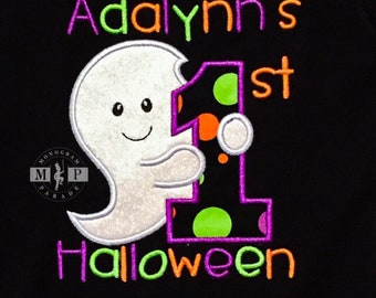 1st halloween shirt - first halloween - ghost - halloween monogram - baby halloween