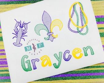 Girls Mardi Gras Shirt - Crawfish - Fleur de lis - Beads - Personalized -Fat Tuesday - Sketch Embroidery
