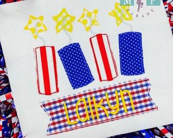 Girls 4th of July - Patriotic Monogram -Firecracker - Red White & Blue - fourth of july - Sparkler