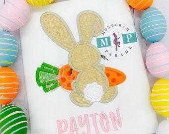 Girls Easter Bunny Shirt or Bodysuit - Easter Bunny - Easter Shirt - 1st Easter - Monogram Easter Bunny - personalized