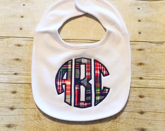 Monogrammed Baby Bib - Plaid Patchwork Applique Baby Bib - Boys Bib - Plaid Bib - Baby Shower Gift - Baby Bib - Initialed Bib