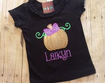 Girls Glitter Pumpkin Shirt - Pumpkin Patch - Pumpkin Shirt - 1st Halloween